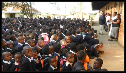 Tom with 1,100 Zulu school children at morning assembly