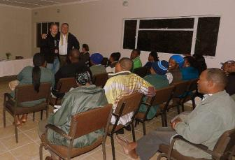Terry & Tom teaching staff at a game reserve
